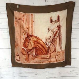 Vintage Two Horse Rolled Hem Scarf